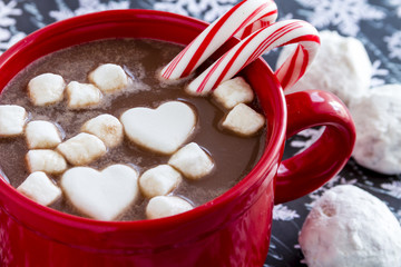 Hot Chocolate with Candy and Cookies