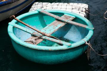 traditional colorful Vietnamese round boats