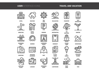 30 Line Art Travel Icons 1