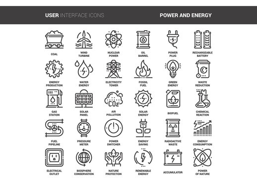 30 Line Art Energy Icons 1