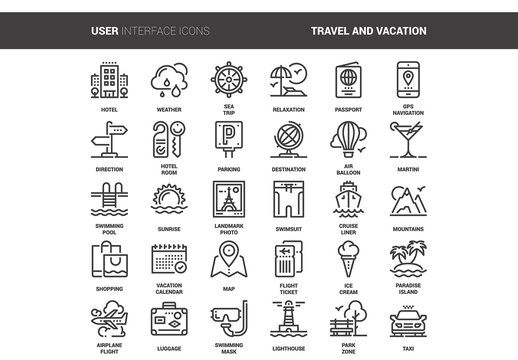 30 Line Art Travel Icons 1