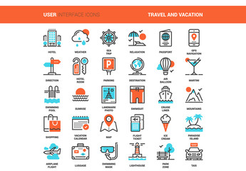 30 Orange and Cyan Travel Icons 1