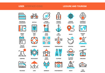 30 Orange and Cyan Travel Icons 2