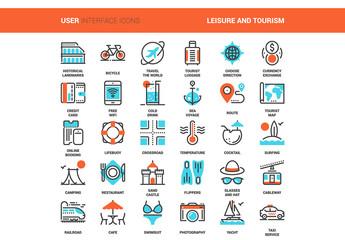 30 Orange and Cyan Travel Icons 2