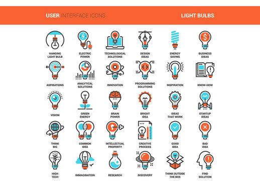 30 Orange and Cyan Light Bulb Idea Icons 1