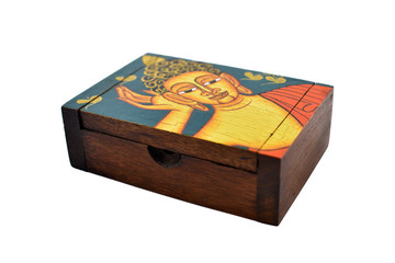 Box decoration stock images. Decorative box on white background. Wooden box with picture of buddha