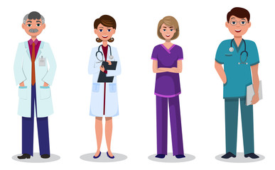 Team of doctors and nurses on white background, male and female in different uniform