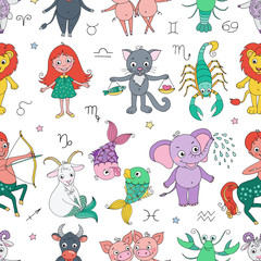 Funny seamless pattern with zodiac sign
