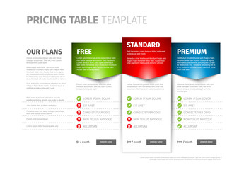 Three Tier Pricing Table Layout
