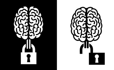 Intellectual property / Open and free sharing of ideas - brain and locked / unlocked lock. Protected or openly available products of intellect. Vector illustration