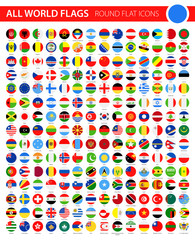 Round Flat Flag Icons on Black Background - All World Vector
