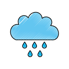 Beautiful fantasy cloud with rain drops vector illustration design