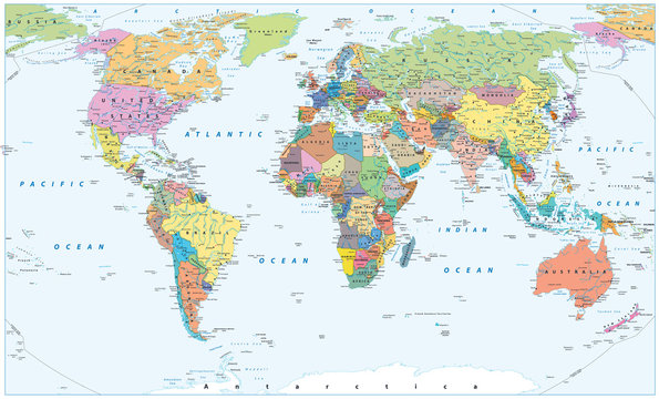 Political World Map - borders, countries and cities