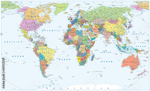 Political World Map - borders, countries and cities\
