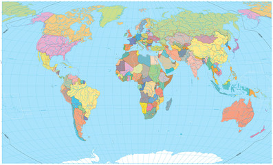 Wall Mural - Colored World Map - borders, roads, rivers and lakes. No text