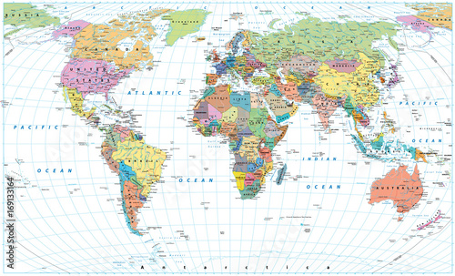 Colored world map borders countries roads and cities isolated colored world map borders countries roads and cities isolated on white gumiabroncs Choice Image
