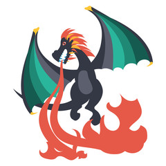 Flat vector illustration of a black dragon with green wings, flying and spitting fire down, isolated on white background