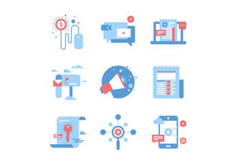 9 Blue and Red Digital Marketing Icons 1
