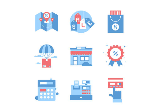 9 Blue and Red Commerce Icons 2