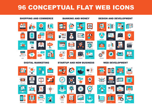 96 Four-Color Square Icons 1
