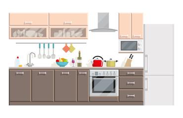 Kitchen modern interior and furniture on white background