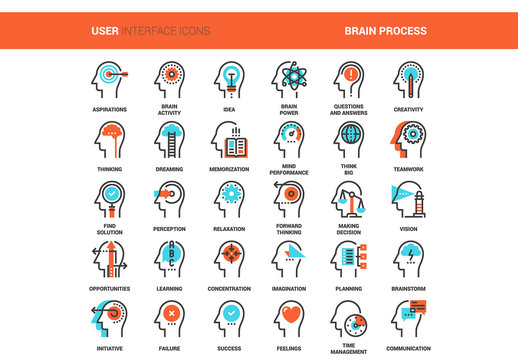 30 Orange and Cyan Thought Process Icons 2
