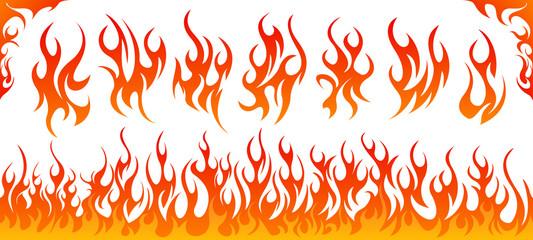 Fire flames vector set Wall mural