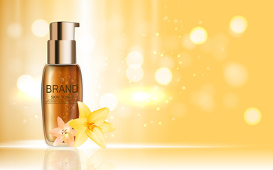 Design Cosmetics Product  with Flowers Golden Liy Template for A