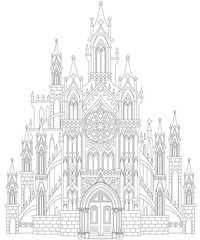 Fantasy drawing of medieval Gothic castle. Black and white page for coloring. Worksheet for children and adults. Vector image.