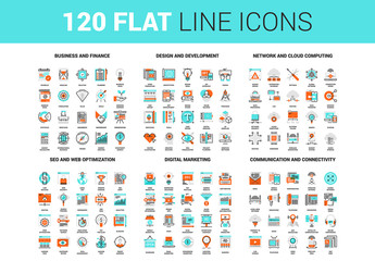 120 Orange and Cyan Icons 1