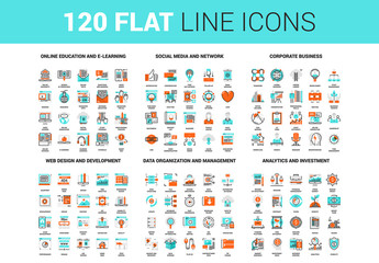 120 Orange and Cyan Icons 2