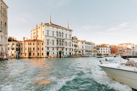 Travelling by water taxi in Venice, Italy
