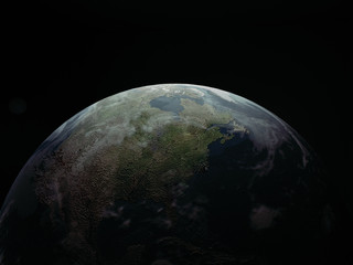 Planet earth, night view, 3d