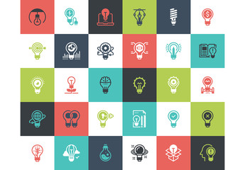 30 Multicolored Square Light Bulb Icons 1