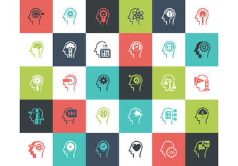 30 Multicolored Square Thought Process Icons 1