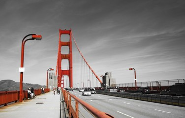 Golden gate bridge in black white and red, San Francisco, California, USA