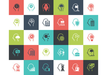 30 Multicolored Square Thought Process Icons 2