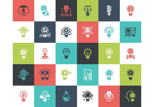30 Multicolored Square Light Bulb Icons 1