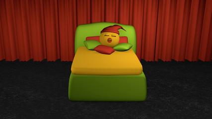 putziges Emoticon schläft im grünen Boxspringbett aus Vorderansicht.