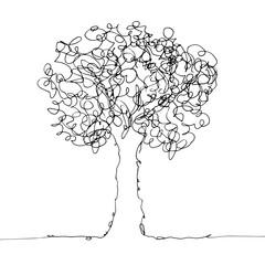 Tree black on white