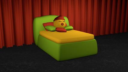 putziges Emoticon schläft im grünen Boxspringbett.