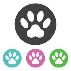 Paw print icon, isolated on white background, vector illustration.