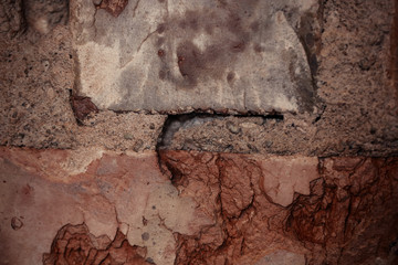 Texture of rough brick wall in old house. Background for design.