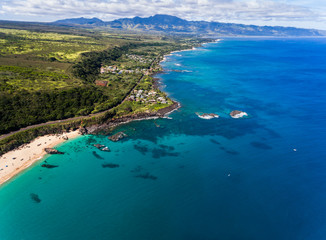 Aerial view of Waimea bay and the north shore of Oahu Hawaii near Haleiwa
