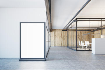 White and wooden office lobby, poster