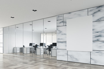 White marble and glass company lobby