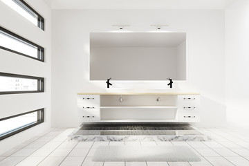 Double sink with a mirror