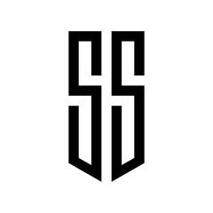 initial letters logo ss black monogram pentagon shield shape