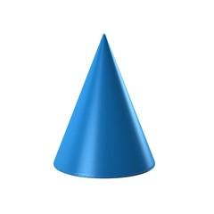 Blue Cone in white background. 3D Render Illustration