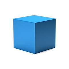 Blue Cube in white background. 3D Rendering Illustration